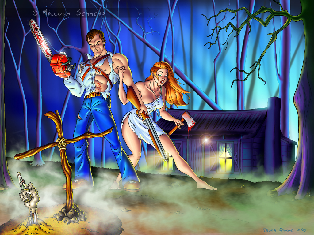 Evil Dead Xxx rule 34 - ash williams axe blood breasts chainsaw cleavage