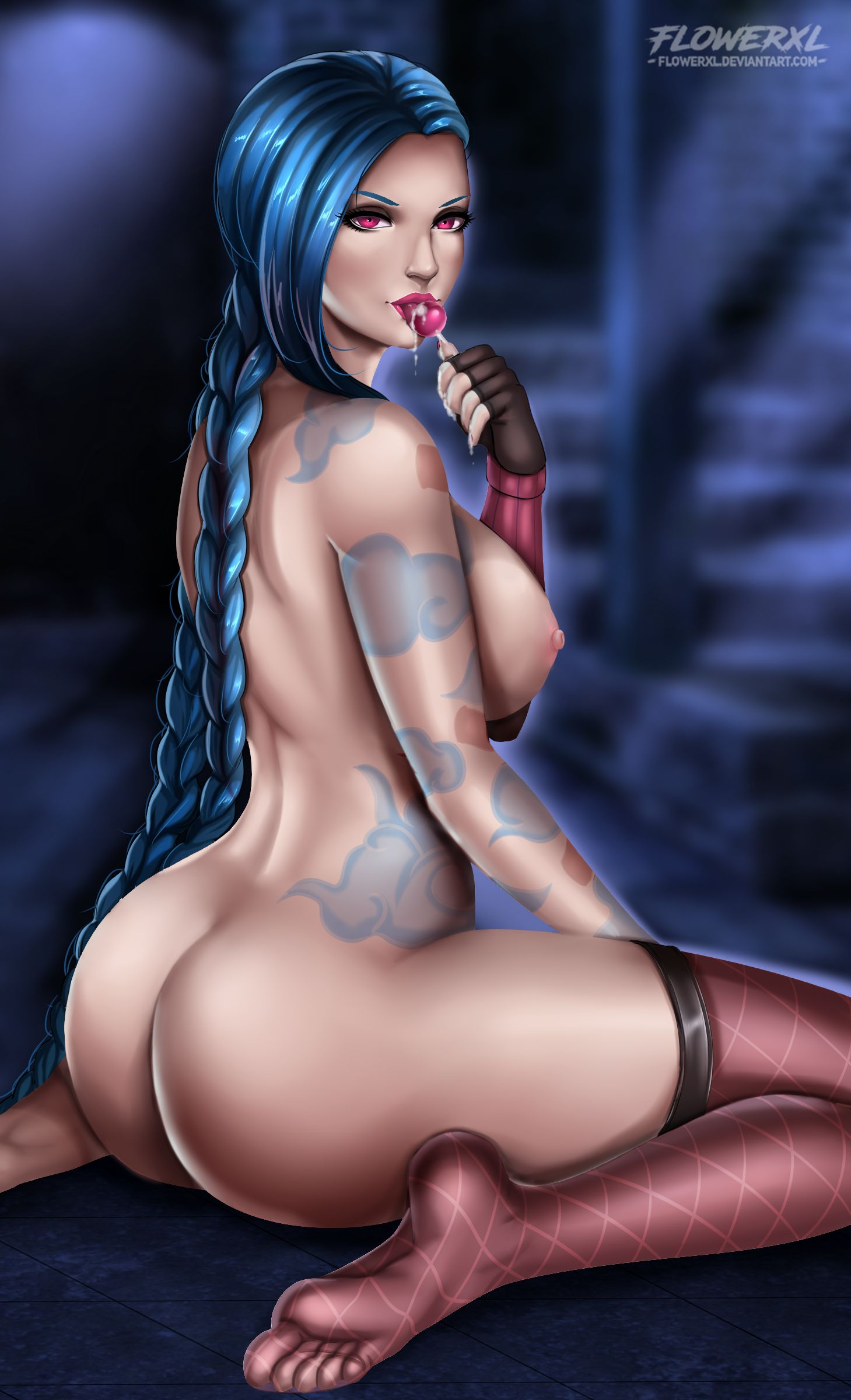 1girl areolae ass big_ass big_breasts breasts dat_ass feet female female_only flowerxl jinx_(league_of_legends) large_breasts league_of_legends looking_at_viewer looking_back nipples solo thighhighs
