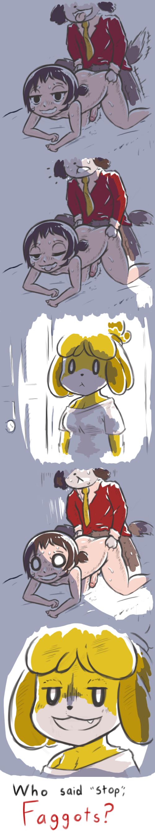 Animal Crossing Villager And Isabelle Day Off Porn Comic rule 34 - 1girls 2boys all fours anal animal crossing anthro