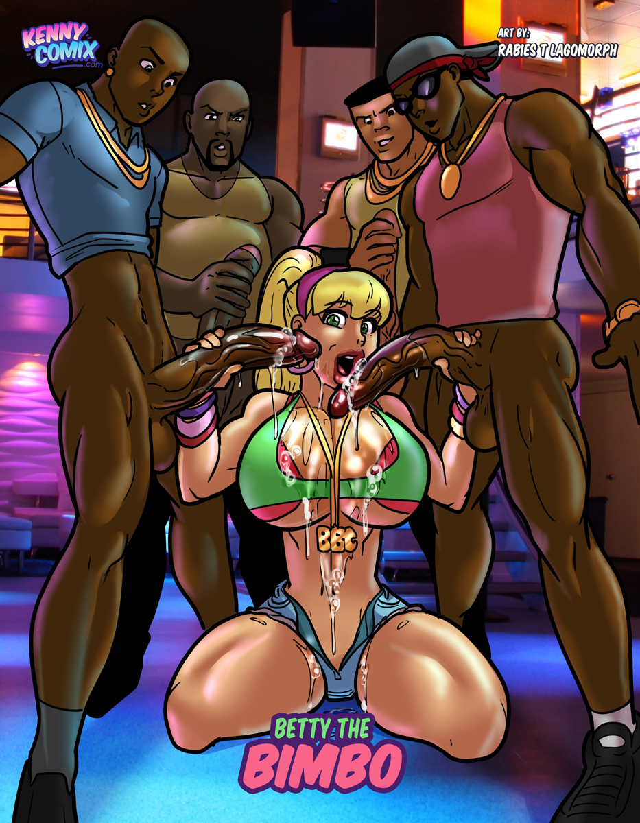 4boys archie_comics bbc betty_cooper big_penis bimbo blonde_hair dark-skinned_male dark_skin fellatio female holding_penis interracial kennycomix large_breasts ponytail rabies-t-lagomorph saliva