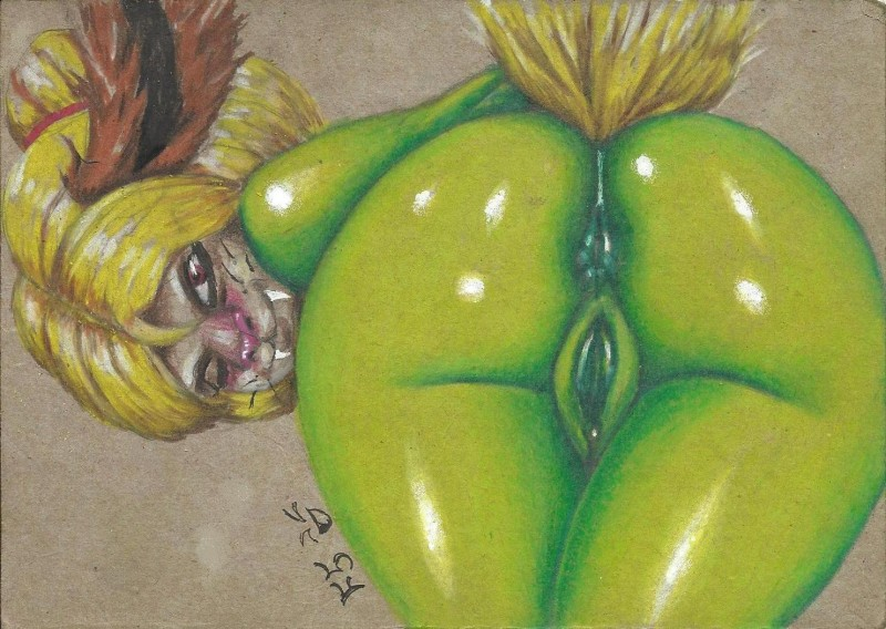 anthro anus ass bent_over female looking_at_viewer looking_back nude one_eye_closed pussy shiny smile solo sonicsfan81 thick_thighs unknown_species wink