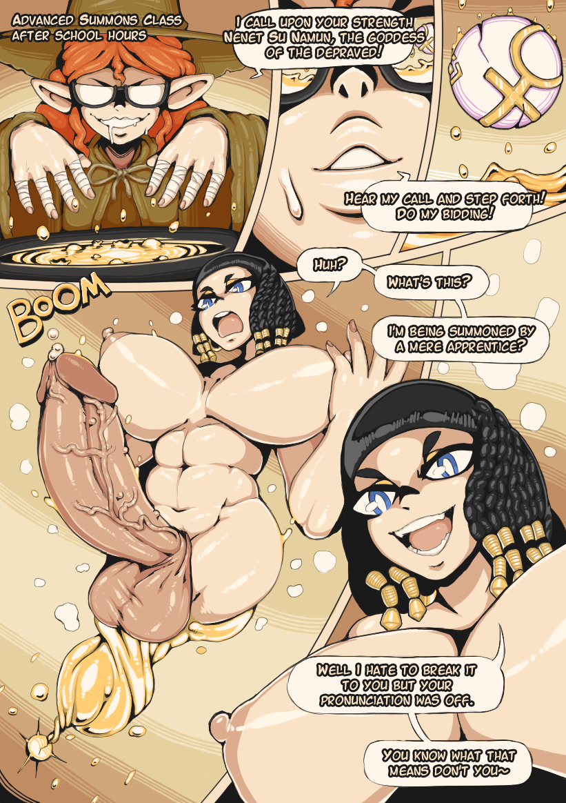2017 abs big_breasts big_penis black_hair blue_eyes comic dialogue egyptian elf female futanari ginger glasses hi_res highres orange_hair original_character summon summoning tagme the-nsfw-diner voluptuous witch