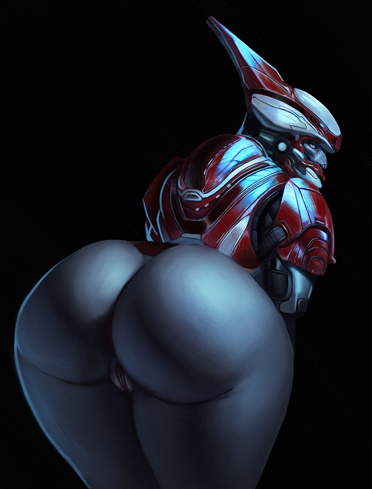 2018 alien armor ass big_butt bottomless clothed clothing da_polar_inc female halo_(series) hi_res humanoid leaning leaning_forward looking_at_viewer looking_back monochrome presenting presenting_hindquarters pussy rear_view sangheili solo thick_thighs video_games