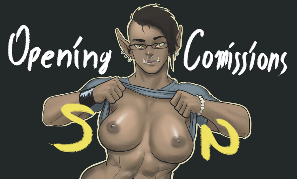 abs amber_(gotalex) areolae black_background black_hair bracelet breasts dark-skinned_female dark_skin earrings english_text eyewear facial_piercing fan_character female female_only flashing front_view glasses gotalex humanoid large_breasts maghar_orc mohawk muscles muscular_female nipples no_bra nose_piercing nose_ring orc orc_female pointy_ears shirt shirt_lift simple_background solo text toned tusks upper_body warcraft world_of_warcraft yellow_eyes