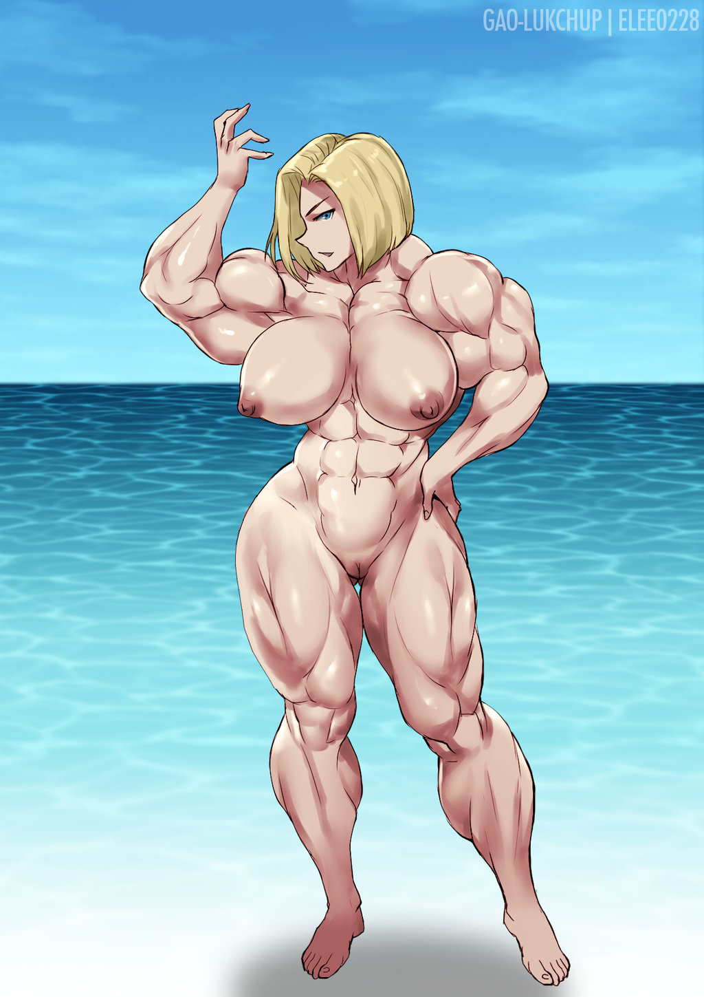 Android 18 Nude rule 34 - abs android 18 barefoot biceps dragon ball