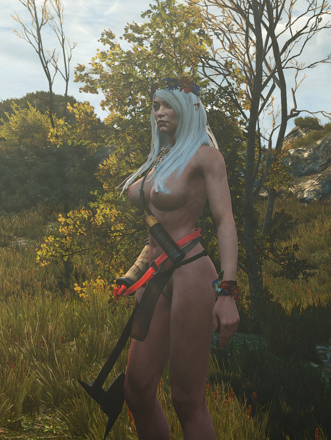 3d armwear axe big_breasts elf flower_in_hair flowers jewelry loincloth long_ears necklace outdoors pubic_hair revealing_clothes the_witcher the_witcher_3 trees tribal weapon white_hair