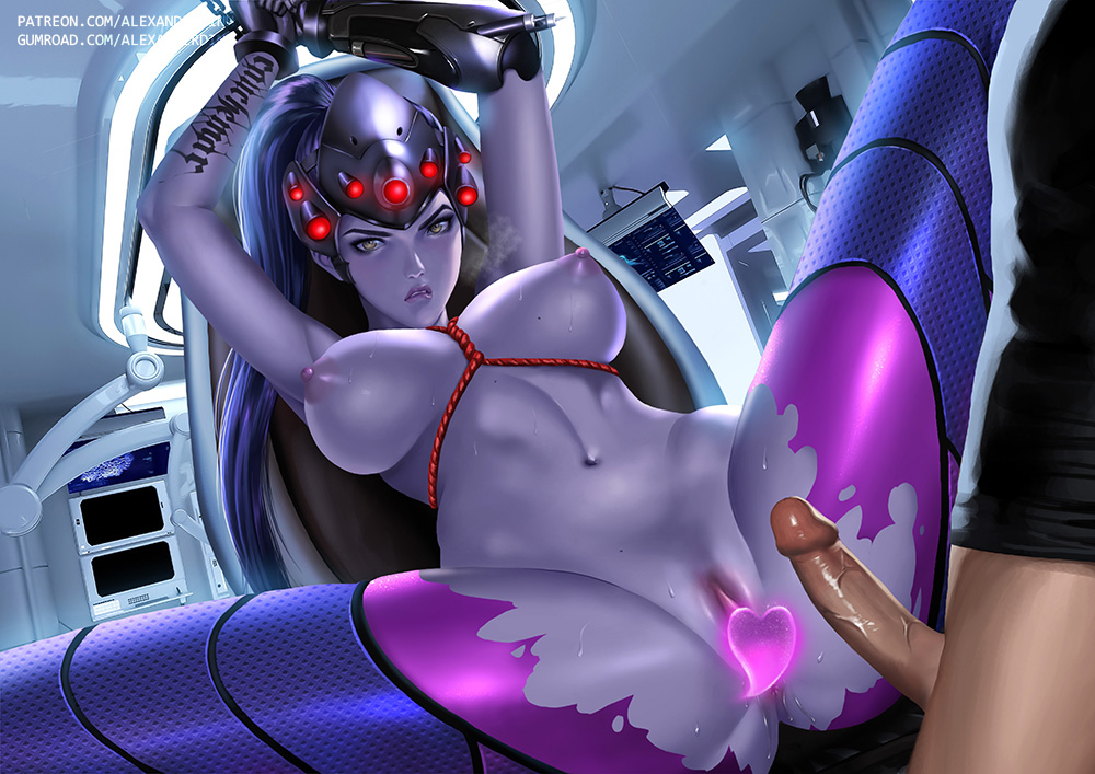 1boy 1girl alexander_dinh bondage bound_wrists breasts censored female imminent_rape male nipples overwatch penis purple_skin pussy rape restrained torn_clothes widowmaker