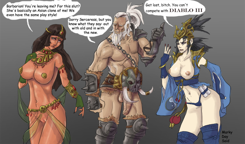 age_difference armor asian bangs barbarian barbarian_(diablo) black_hair  breasts breasts_out brown_hair clenched_fists curvy dangling_testicles