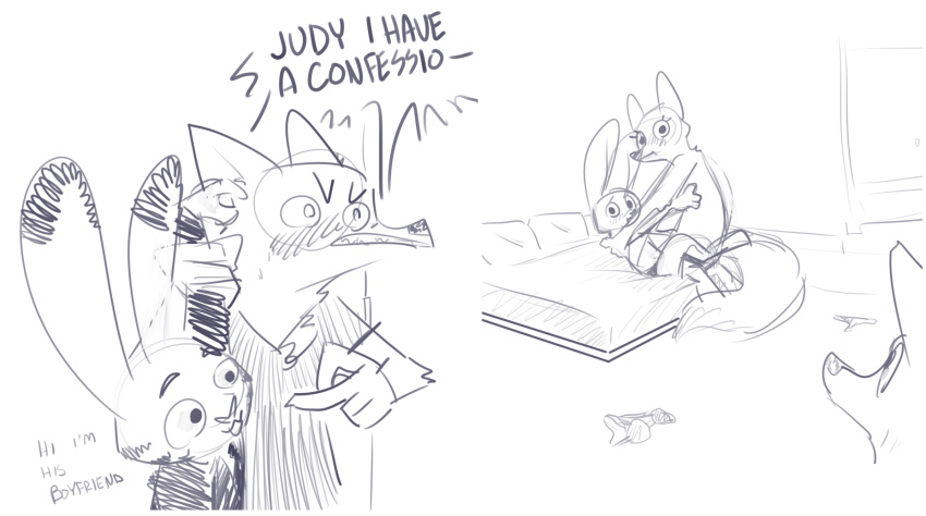 Jack Savage Judy Hopps Porn Comics - Rule 34 - bed blush bra canine caught clothed clothing comic ...