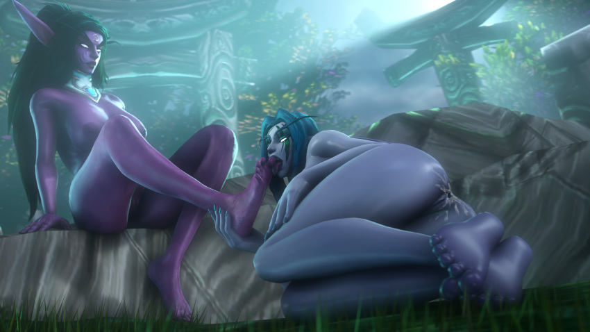 2girls 3d anus areolae ass barefoot big_breasts breasts cum cum_in_ass cum_inside elf feet female female_only foot_lick kalimdor large_breasts moonwell night_elf night_elf_priest nipples noname55 nude pointy_ears pussy source_filmmaker teldrassil toes tyrande_whisperwind world_of_warcraft ziahna