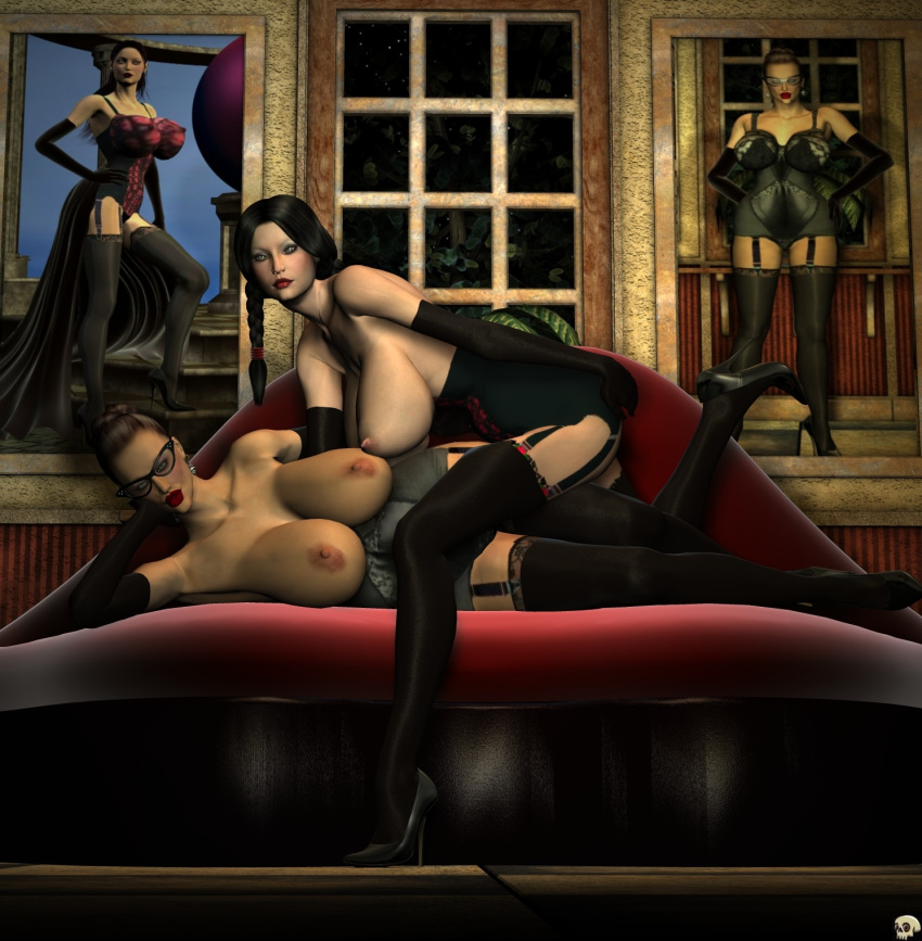 2girls 3d aunty_robin bare_shoulders bed big_breasts black_eyes black_footwear black_gloves black_hair black_legwear black_stockings breast_outside busty cleavage corset curvy detailed_background ear_piercing earrings elbow_gloves erect_nipple erect_nipples female female_on_top female_only footwear front_view garter garter_straps glasses gloves hair_bun half-dressed half_dressed high_heels hourglass_figure human indoor inside lady_darla leg_lift leg_up legwear lingerie lipstick long_hair looking_at_viewer lying makeup multiple_females multiple_girls no_bra piercing pose posing red_lipstick room shiny shiny_skin short_hair side_view stockings tied_hair topless twintails voluptuous white_background xskullheadx