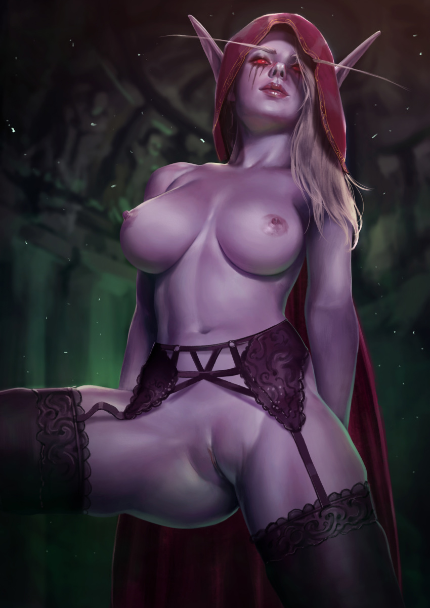 absurdres areolae big_breasts breasts eastern_kingdoms fainxel female female_only garter_belt highres large_breasts looking_at_viewer nipples pussy solo stockings sylvanas_windrunner tirisfal undercity world_of_warcraft