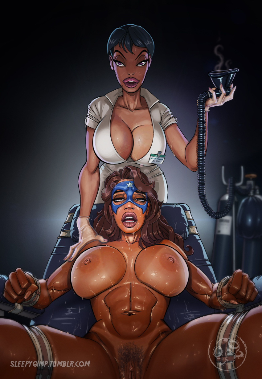 2girls abs areolae biceps big_lips bimbo black_hair bondage breasts brown_hair clitoris clothed_female_nude_female dark-skinned_female dark_skin domination drooling drugged duo eyelashes female female_only female_pubic_hair femdom femsub gloves hand_on_shoulder helpless highres huge_breasts human large_breasts lipstick long_fingernails long_hair looking_at_viewer mask name_tag nipples nude nurse original_character oxygen_mask pink_eyes pink_lipstick pubic_hair pussy saliva short_hair sleeping_gas sleepygimp spread_legs strapped_down superheroine sweat tanline violet_white