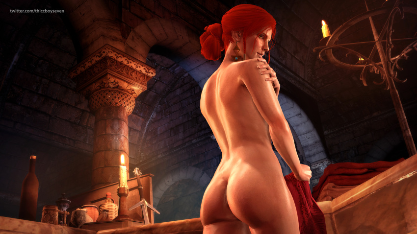 3d ass female female_only looking_at_viewer looking_back red_hair solo the_witcher the_witcher_3:_wild_hunt thiccboyseven triss_merigold yellow_eyes