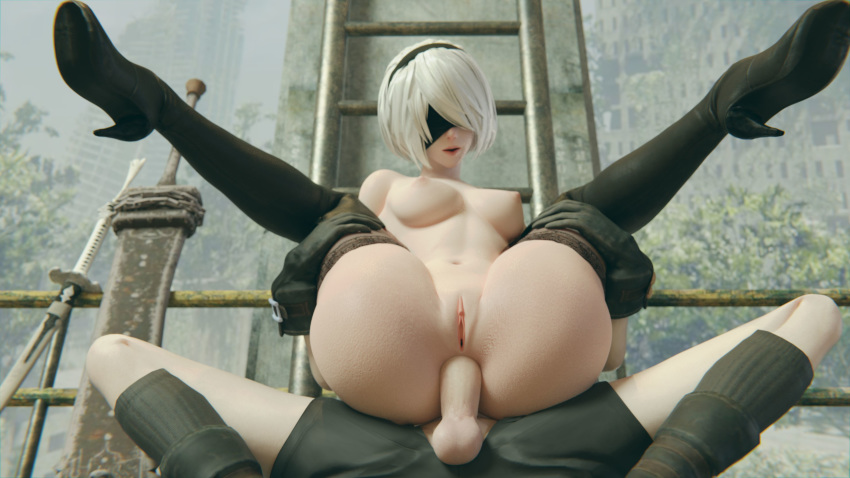 1boy 1girls 3d 3d_(artwork) anal anal_sex areolae arhoangel ass balls big_ass big_breasts big_butt big_penis blender blindfold bottomless breasts clitoris deep_penetration erect_penis erection faceless_male female female_focus gigantic_ass highres huge_ass insertion large_ass legs_held_open legs_over_head legs_up legwear light_skin male male_penetrating mostly_nude navel nier nier:_automata nipples outdoors penetration penis presenting presenting_anus presenting_pussy pussy sex shoes short_hair silver_hair spread_legs straight testicles thick_thighs thighhighs thighs topless vagina white_hair yorha_2b yorha_9s