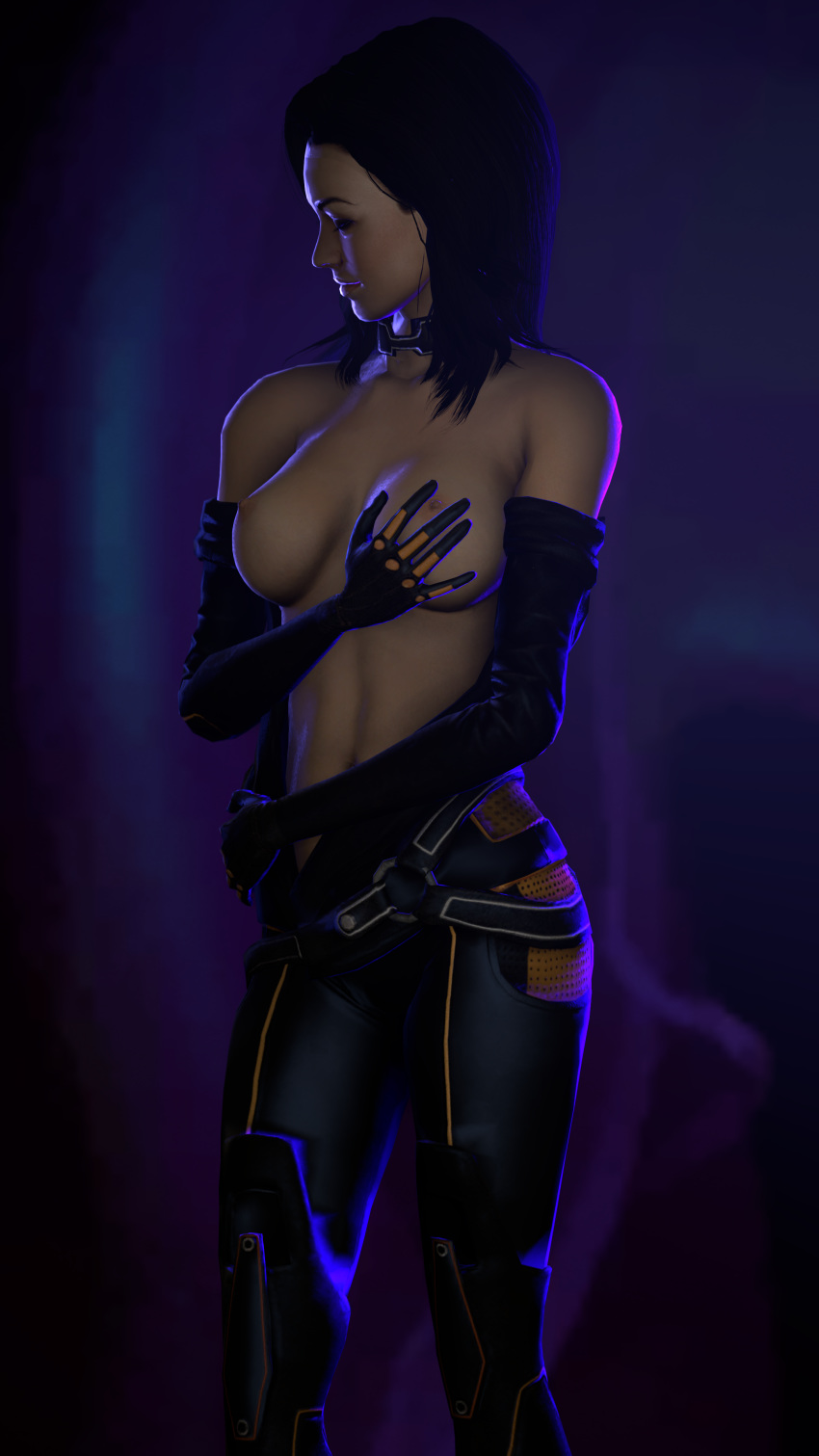 1girls 3d areolae black_clothing black_hair breast_grab breasts closed_eyes female female_only grabbing_own_breast hips itwasmedio jumpsuit looking_away looking_down mass_effect miranda_lawson navel nipples open_clothes open_shirt solo source_filmmaker