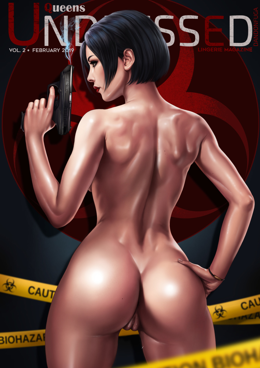 1girls 2019 5_fingers absurdres ada_wong anus ass back big_ass big_butt black_hair blurry bob_cut brown_eyes butt capcom caution_tape character_name cover cropped_legs dandon_fuga dat_ass depth_of_field eyebrows eyelashes female gun h&k_vp70 hand_on_hip handgun heart highres human human_only jewelry lipstick looking_to_the_side magazine_cover makeup mole_on_ass nude paid_reward patreon_reward pinup pussy pussy_juice red_lipstick resident_evil resident_evil_2 shiny shiny_skin smoke smoking_gun solo standing thick thick_ass toned underwear vagina video_games weapon