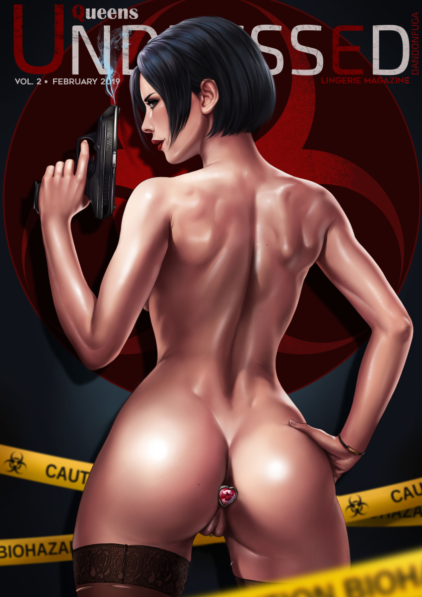 absurdres ada_wong ass back black_hair black_legwear blurry blush butt_plug caution_tape character_name cover cropped_legs dandon_fuga depth_of_field female gun h&k_vp70 hand_on_hip handgun heart highres jewelry lingerie lipstick looking_to_the_side magazine_cover makeup nude paid_reward patreon_reward pinup pussy pussy_juice resident_evil resident_evil_2 sex_toy shiny shiny_skin shy smoke smoking_gun solo standing thighhighs toned underwear weapon