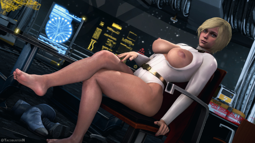 1girls 3d areolae barefoot big_breasts blonde_hair breasts dc dc_comics feet female female_only injustice_2 karen_starr large_breasts looking_at_viewer nipples power_girl solo source_filmmaker superman_(series) tacobusternsfw toes