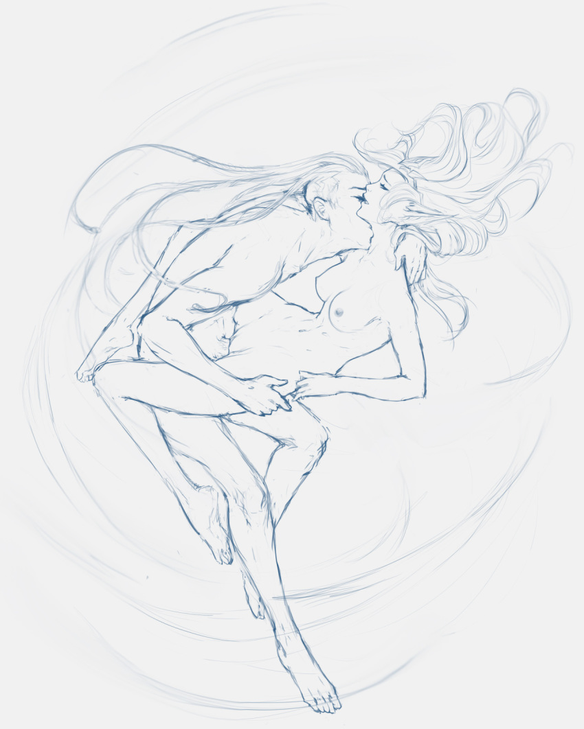 bbc breasts closed_eyes dreadlocks female feversea feversea_(artist) floating greyscale interracial janna_windforce kissing kissing_neck league_of_legends levitation long_hair lucian_(league_of_legends) male monochrome nipples nude pleasure_face pointy_ears riot_games romantic sex sketch straight upright_straddle vaginal_penetration