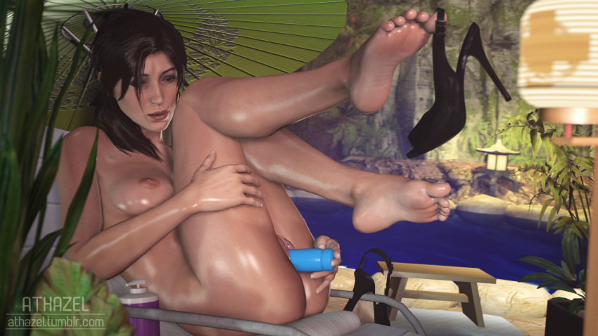 Lara croft barefoot having sex