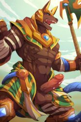 1boy 2015 abs anthro balls bandage biceps blue_eyes brown_fur canine clothing cum deity dog erection fangs fur headgear helmet jackal league_of_legends lol male male_only mammal muscle nasus open_mouth pecs penis precum presenting rabbity solo video_games weapon rating:Explicit score:47 user:DoggyStyle