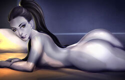 ass black_hair cherry-gig dat_ass female nude on_stomach overwatch ponytail solo tied_hair widowmaker yellow_eyes  rating:questionable score:70 user:chooped