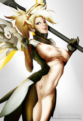 areolae big_breasts blonde_hair blue_eyes breasts cherry-gig female female_only large_breasts looking_at_viewer mercy nipples overwatch solo  rating:explicit score:74 user:justausername