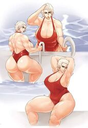 character_request copyright_request donaught huge_ass large_breasts muscular_female pool red_swimsuit thick_thighs white_hair rating:Questionable score:52 user:nazonig