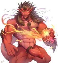 2017 abs anthro arm_tuft balls beard belly biceps big_biceps big_penis big_tail body_hair brown_hair brown_horn chest_hair claws dragon dripping erection facial_hair fire front_view green_eyes hair horn humanoid_penis long_hair long_tail magic male male_only muscular muscular_male nipples nude open_mouth pecs penis pink_tongue pose precum pubes rabbity red_skin red_tail scalie sharp_teeth simple_background sin_(varanis_ridari) snout solo standing tail_tuft teeth thick_tail thick_thighs tongue tuft vein veiny_penis western_dragon whiskers white_background rating:Explicit score:11 user:bot