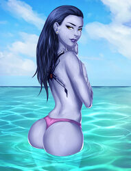 ass cherry-gig dat_ass female female_only looking_at_viewer looking_back overwatch panties solo thong widowmaker  rating:questionable score:98 user:justausername