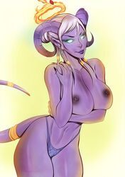 areolae big_breasts breasts cherry-gig draenei female female_only large_breasts looking_at_viewer nipples panties solo topless world_of_warcraft  rating:explicit score:54 user:justausername