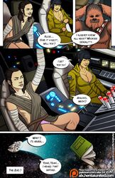 alx big_breasts breasts chewbacca cleavage clothed comic erect_nipples fuckit half_naked millenium_falcon panties rey rose_tico star_wars the_last_jedi wookiee rating:Explicit score:30 user:gipdos