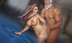 breasts bride brigitte female large_breasts male mikiron nipples overwatch reinhardt sex tattoo thighhighs  rating:explicit score:77 user:chooped