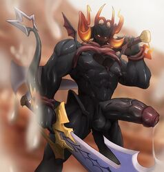 bara big_penis black_penis black_skin cum cumshot dark_inferno gay heartless kingdom_hearts male male_only muscular muscular_male rating:Explicit score:24 user:Sexyshadowman