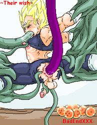 1boy anal animated badendxxx blonde_hair blush color dragon_ball dragon_ball_z fellatio gay male male_only malesub nipples oral rape sex tentacle_on_male tentaclejob tentacles torn_clothes vegeta yaoi rating:Explicit score:33 user:bot