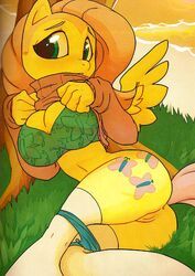 anthro bra equine female female_only fluttershy_(mlp) friendship_is_magic hair long_hair my_little_pony panties pegasus pink_hair pony pussy solo stockings sweater underwear wings