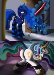 alicorn anal_beads anus ass ball_gag blue_eyes blush bondage crown cutie_mark dildo equine female friendship_is_magic hair horn horse imminent_sex multicolored_hair my_little_pony pink_eyes pony princess_celestia_(mlp) princess_luna_(mlp) pussy sex_toy siblings sisters two_tone_hair whip wings ziemniax