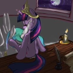 alicorn bloodkiaser923 blush candle closed_eyes crown cunnilingus cutie_mark equine female friendship_is_magic hair horn horse moon multicolored_hair my_little_pony night oral oral_sex pony princess_celestia_(mlp) pussy_juice quill royalty scroll sex sitting sweat table twilight_sparkle_(mlp) unicorn vaginal_penetration wet wings yuri
