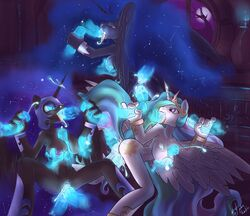 alicorn anal anthro ass atryl breasts cum cutie_mark double_penetration equine fellatio female friendship_is_magic hair helmet horn horse multicolored_hair my_little_pony nightmare_moon_(mlp) nipples oral oral_sex penetration princess_celestia_(mlp) princess_luna_(mlp) pussy sex vaginal_penetration wings