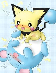 blush color feral fur interspecies male marill nude penis pichu pokemon sex size_difference tagme testicles