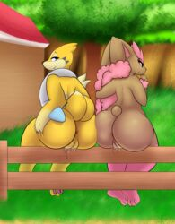 2019 2girls alternate_color anglo anthro anthrofied anus ass ass_to_ass back big_ass big_thighs brown_fur chubby digital_media_(artwork) duo feet female female_only fence floatzel fur furry grass hair hi_res huge_ass lagomorph looking_at_viewer looking_back lopunny mammal mustelid nintendo nude original_character otter outdoors paws pokémon_(species) pokemon pokemon_dppt presenting presenting_hindquarters pussy pussy_juice rear_view rodent shiny_pokemon simple_background sitting smile thick_thighs video_games wide_hips