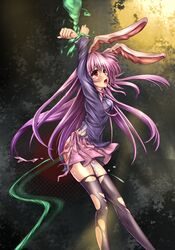 bondage bunny_ear female_ejaculation legs long_hair monikano pink_hair purple_hair pussy_juice red_eyess reisen_udongein_inaba skirt spanked tear tentacle thighhighs torn_clothes torn_thighhighs touhou whipping