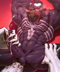 2boys anal anti-venom anti_venom artist_request blush cock cum gay latex marvel muscles muscular orgasm penis saliva spider-man_(series) tongue tongue_out uncensored urethral_insertion venom