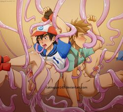 2boys anal baseball_cap bottomless brock catnappe143 cum insertion male male_only malesub multiple_anal multiple_insertions penis pokemon satoshi_(pokemon) shirt_lift tentacle_on_male triple_anal urethral_insertion