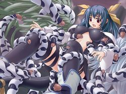 blue_hair color dizzy_(guilty_gear) female guilty_gear imminent_rape incest justice_(guilty_gear) kuma_teikoku large_breasts open_mouth red_eyes restrained ribbon scared tail tail_ribbon tentacles thighhighs wide-eyed wings