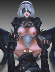 2d animated blindfold breasts cowgirl_position drooling female holding_hands large_breasts male nier nier:_automata nipples no_sound penis pov pussy sex short_hair unfairr vaginal_penetration webm white_hair yorha_2b yorha_9s