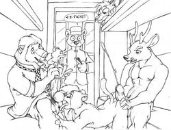 around_the_world_with_willy_fog bear brigadier_corn deer furry furryrevolution line_art lion male monochrome mouse multiple_males no_humans orgy public rigodon size_difference tagme tico willy_fog yaoi
