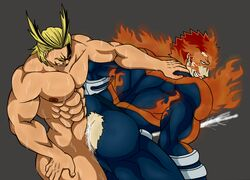 2boys all_might anal anal_sex ass bara blonde_hair bubble_butt cum cum_in_ass cum_while_penetrated endeavor_(my_hero_academia) enji_todoroki fire gay multiple_boys muscle my_hero_academia orgasm penetration red_hair ripped_clothes ripped_clothing sex thrusting torn_clothes torn_clothing yaoi