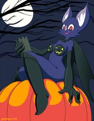 anthro bat body_paint boots breasts cape elbow_gloves fangs furry gloves halloween moon night nipples nude pumpkin soapmonster tree wings